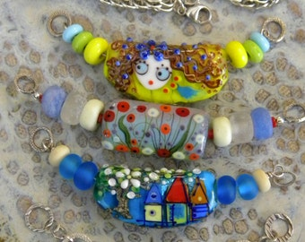 4 Necklaces Necklace in 1, Full Persian Chain Maille Sterling Silver Jump Rings,  Lampwork Beads Centers OOAK Houses Woman Face Poppies