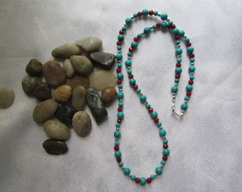 Turquoise and Ruby Necklace