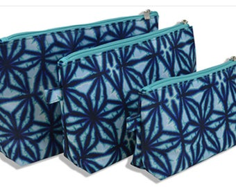 Personalized Cosmetic bags, blue pattern, cosmetic bag set, 3 pieces monogrammed set, makeup bags