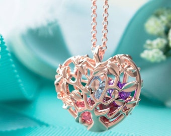 10K & 14K Solid Gold (Never Plated!) Tree-Heart Cage Pendant with Personalized Birthstones