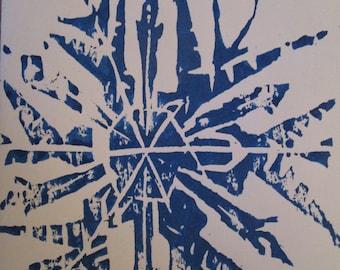 Frozen Snowflake Woodblock Print Christmas Card