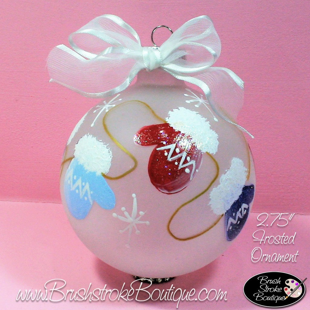 Winter Mittens Ornament Hand Painted Glass Ball Ornament