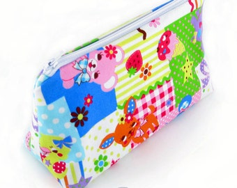 JULY PREORDER Cosmetic pouch/bag with multicolored animal and sweets  japanese fabric kawaii harajuku