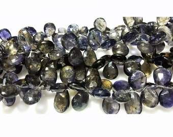 Iolite Beads/ Faceted Beads/ Iolite Briolette Beads, Pear Beads, 5x8mm To 8x11mm Each, 30 Pieces Approx, 4.5 Inch Half Strand