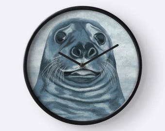 Ocean blue wall clock - paint pattern blue seal in the Sea - Black bamboo frame