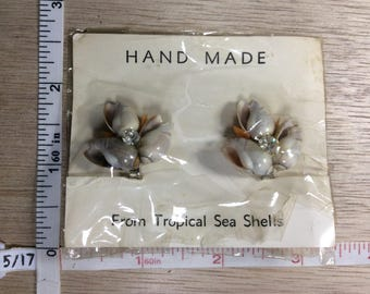 Vintage Shell Clear Rhinestone Clip On Earrings Unused