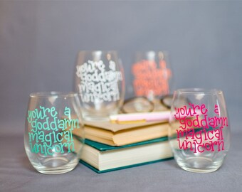 Hand Lettered Magical Unicorn Stemless Wine Glass    Several Colors Available    Glass and Vinyl    Wine Glass with Bright Letters