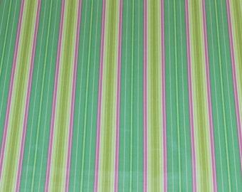 "LAMINATED Cotton  - Turquoise Stripes, 56"" Wide, BPA & PVC Free"