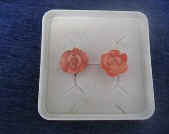 Angels-skin, coral, earrings. 14k. Carved coral.