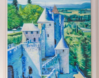 The Ramparts of Carcassonne (framed oil painting, 2016)