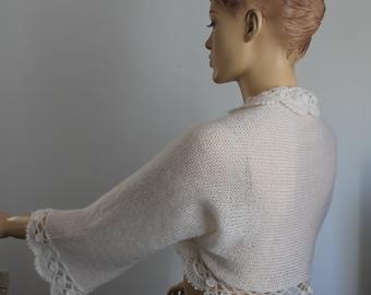 Crochet Shrug, Knit Crochet Bolero,  Hand Knit  Crochet  Ivory  Shrug  Bolero , Wedding shrug bolero, Cover up, Bridal bolero, 3/4 sleeved