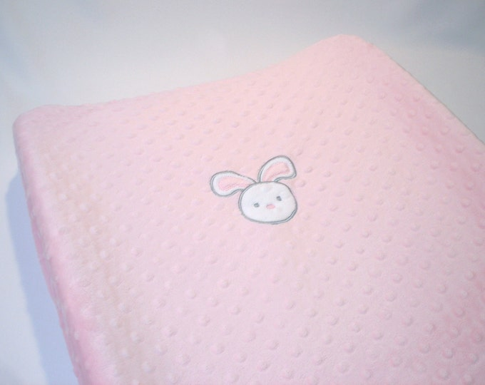 Minky Changing Pad Cover with Bunny Applique