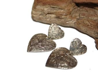 Vintage Embossed Earrings, Heart Earrings, Heart Jewelry, Gift for Her, Silver Toned Hearts, Pierced Earrings, Floral Hearts