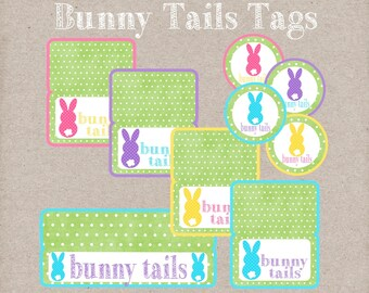 Bunny Tails Bag Toppers and Gift Tags. Fun Easter Gift Tags. Instant Digital Download.