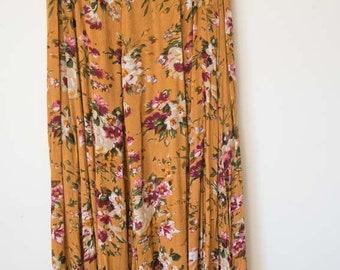Mustard floral Tree of Life skirt