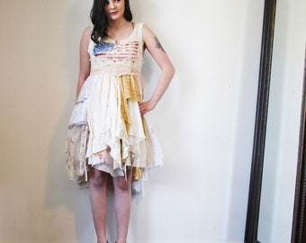 RESERVED upcycled dress  S - M upcycled clothing, wearable art, artwear, romantic tattered dress, American flag dress . stars and stripes
