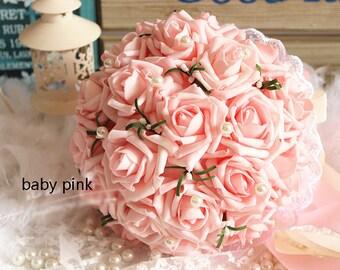 Pink wedding bouquet etsy baby pink wedding bouquet turquoise flowers bridal bouquet wedding centerpieces decorationssilk ribbon fake flower bouquets mightylinksfo
