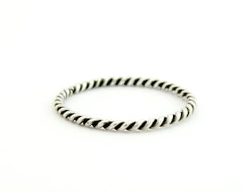 Silver twisted ring, slim silver ring, thin twisted ring, Twisted rope ring