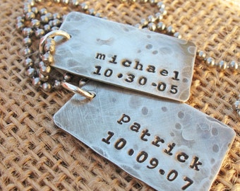 Silver dog tags - Personalized Dog Tags - Husband Christmas Gift - Dad dog tags  - dad necklace - Sterling Silver Dog Tag