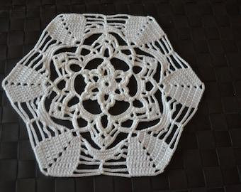 Handmade doily, 26cm, white, crocheted, cotton