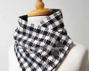 Shepherd's Check Navy Tan and White Snap Neck Warmer Scarf, Neckwarmer, Gray Fleece Lined with Silver Crest Buttons