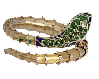 14kt yellow gold vintage snake bangle with emeralds, diamond and enamel