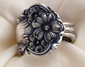 """Spoon Ring,  """"Arbutus"""" 1908,  Silverware Jewelry, Vintage Silverplate, Size 5 to 12 Choose Your Size"""