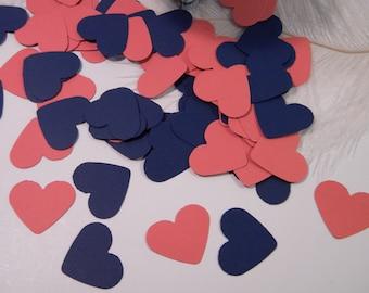 Confetti Coral and Navy Wedding Decoration / Heart Confetti / Table Scatter / Invitation Confetti / Party Decorations - 150 Pcs
