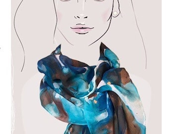 Abstract Flurry, Ocean Blues hand painted silk georgette scarf.  Aqua blue, cobalt and brown brush strokes art scarf, oblong silk wrap