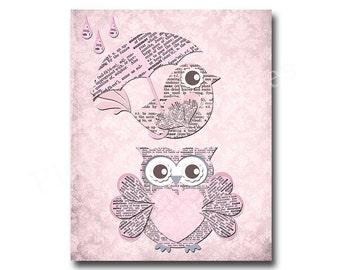 Owl nursery decor, pink owl decor, kids room decor, play room decor, nursery wall decor, girl room wall art, pink bird, baby girl room decor
