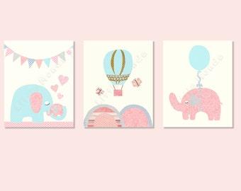 Baby Girl Nursery Prints, Nursery Art, Pastel Nursery Prints, French Nursery, SET OF 3 PRINTS, Elephant, Ballon, Shabby Chic, Pink And Aqua