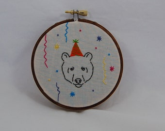 Party Bear Embroidered Hoop Art