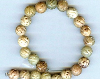9-10mm Carved Soapstone Gemstone Beads 12pcs Very Unusual