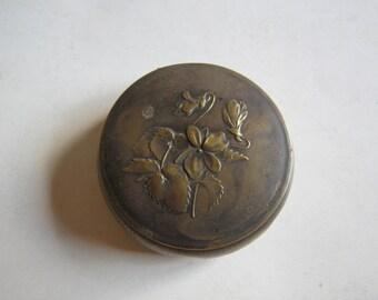 Victorian brass powder box