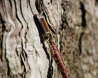 Magic Wand - Purple Heart and Tigers Eye - Wiccan Wand, Pagan Wand, Wizard Wand, Magical Girl Wand, Wood Wand, Witch Wand,  Magick Wand