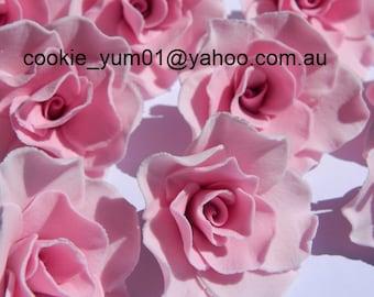6 edible MEDIUM Roses 5cm cupcake cake topper decorations sugar flower blossom wedding anniversary birthday engagement christenin