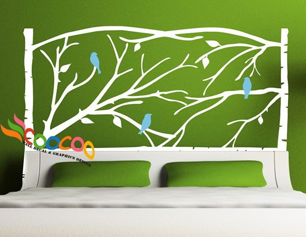 Full Wall Mural Decals: Headboard Decal Tree Branches Wall Sticker King Queen Full