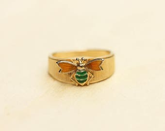 Yellow Bee Ring, Bee Ring, Gold Bee Ring, Vintage Bee Ring,