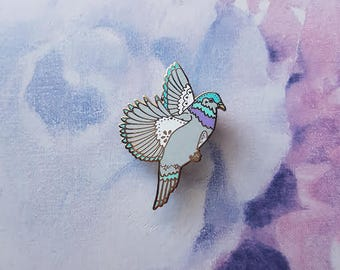 Flock of Friends Pigeon Enamel Pin with Butterfly Clasp // Hard Enamel, Cloisonne, Accesories, Flair