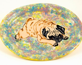 Bright Handmade Hand Painted Stoneware Platter Cute Pouty Pug Dog