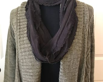 Dark brown ruffle knit infinity scarf. Lightweight and airy! Not bulky! Lightweight necklace scarf! Travels easily and doesn't wrinkle