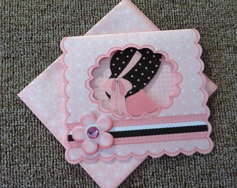 Glam girl note card with matching insert and envelope.