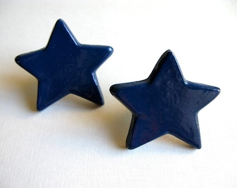 Navy Blue Star Drawer Knob
