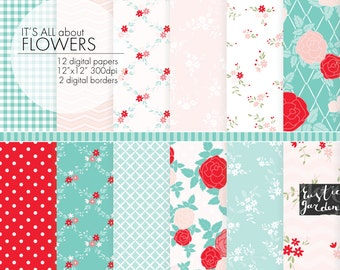 Shabby chic floral digital paper. Red, pink, blue, white.