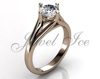 Engagement Ring - 14k Rose Gold Engagement Ring Bridal Ring Wedding Ring Anniversary Ring ER-1130-3
