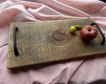 Reclaimed Pine Wood Tray, Rustic Wood Serving Tray, Primitive Tray, Vinatge Boho Reclaimed Wood Tray