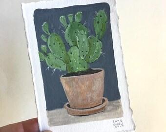 Cactus No. 2 Original Watercolor Painting Free Shipping