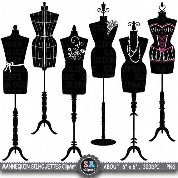 mannequin silhouette clipart mannequin silhouette fashion dress rh etsystudio com Dress Form Mannequin Purple Vintage Dress Form Clip Art