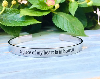 Customized Piece of my Heart is in Heaven Stainless Steel Cuff Bracelet, memorial, mourning, grieving, loss of loved one, sympathy