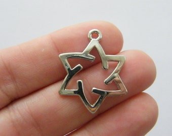 BULK 50 Star of David charms antique silver tone R97